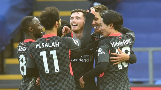 Selebrasi pemain Liverpool usai bantai Crystal Palace