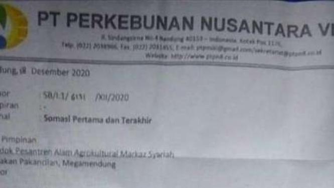 Surat dari PTPN VIII.