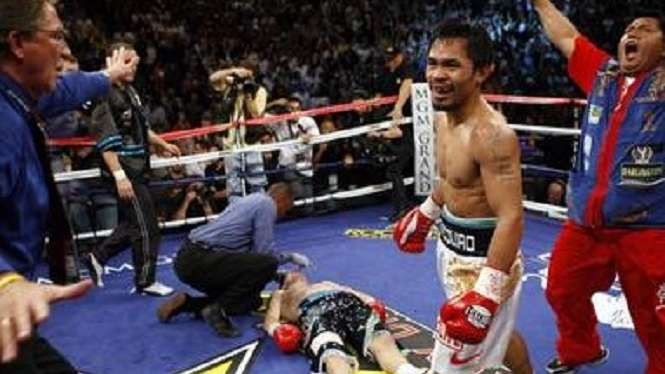 Ricky Hatton hancur lebur di tangan Manny Pacquiao