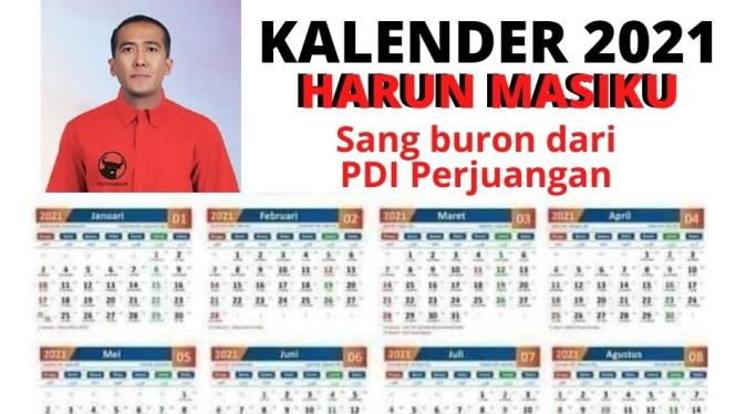 Kalender 2021 bergambar wajah Harun Masiku.