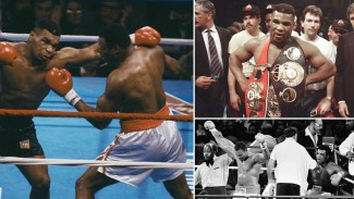 Duel Mike Tyson saat menghadapi Larry Holmes