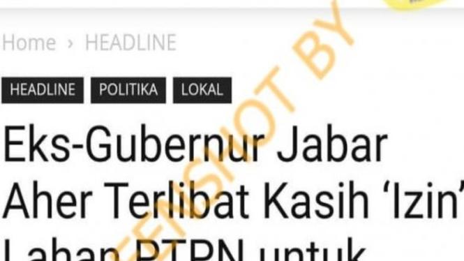 Hoax eks Gubernur Jabar Ahmad Heryawan kasih izin lahan PTPN untuk FPI