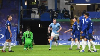 Pertandingan Chelsea vs Manchester City.