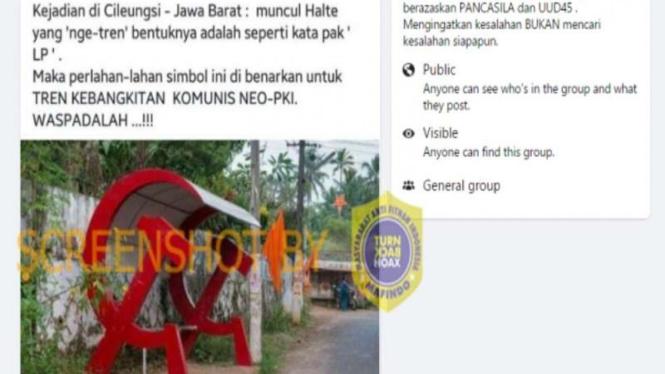 Hoax halte berbentuk palu arit di Cileungsi, Bogor