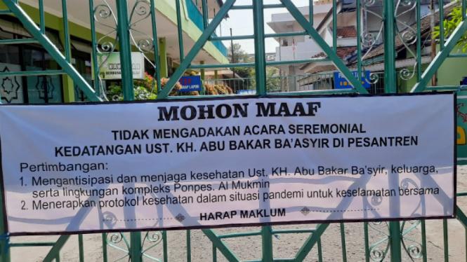Pemberitahuan tak ada perayaan penyambutan Ustaz Abu Bakar Ba'asyir