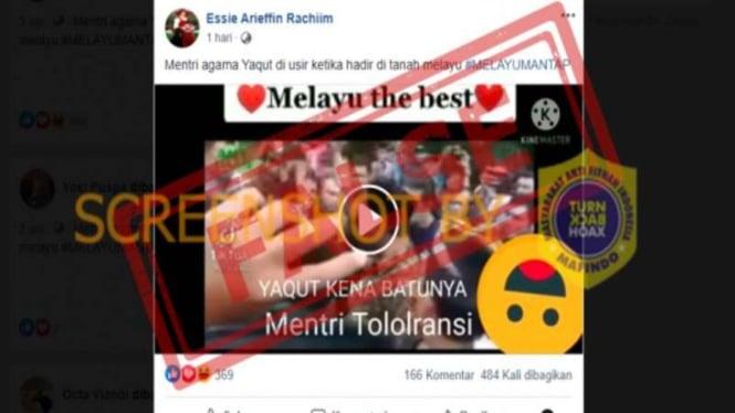 Hoax Menteri Agama Yaqut Cholil diusir di Tanah Melayu