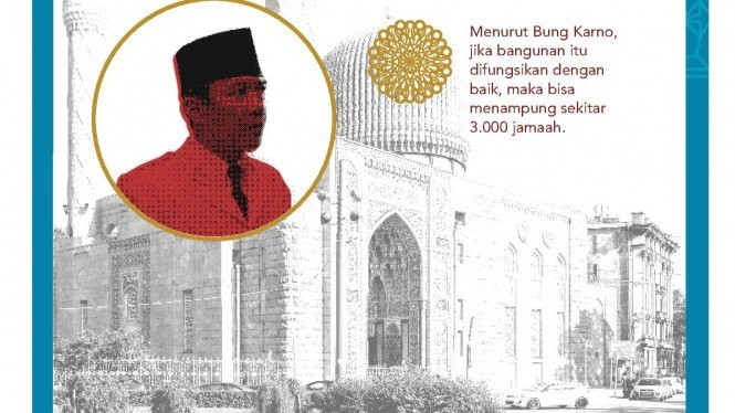 Masjid Biru yang kini dikenal dengan sebutan Masjid Bung Karno. Aktif kembali setelah dalam kunjungan Soekarno ke Rusia (Uni Soviet) meminta agar bangunan yang sempat dijadikan gudang itu diaktifkan kembali sebagai masjid (infografis/bungkarno.id)