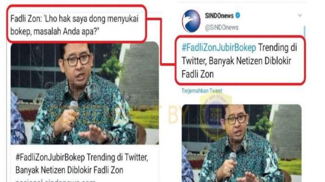 Hoax cuitan twitter Fadli Zon