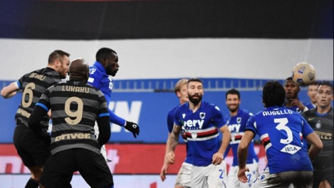 Romelu Lukaku dalam laga Inter Milan melawan Sampdoria