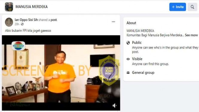 Hoax Mahfud joget dangdut usai bubarkan FPI