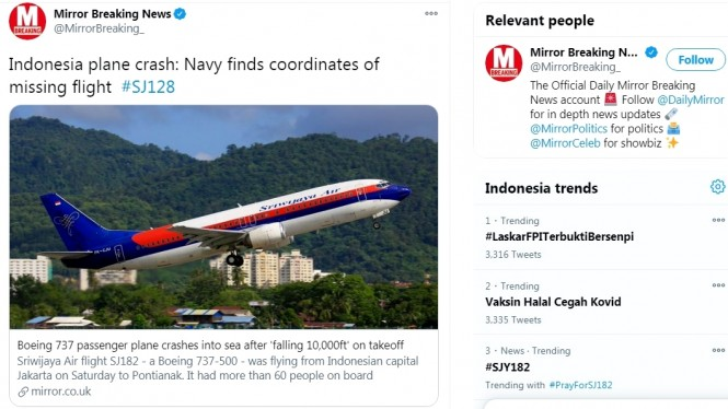 Kabar kecelakaan pesawat Sriwijaya Air SJ128 jadi sorotan media Inggris, Mirror