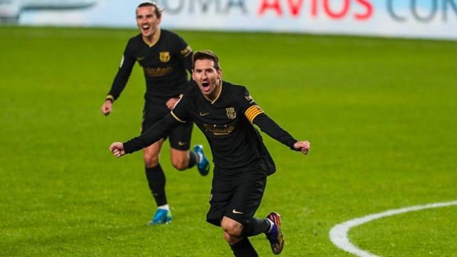 Selebrasi bintang Barcelona Lionel Messi.