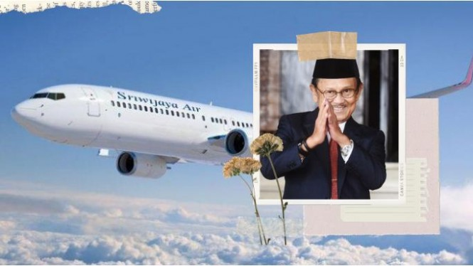 Ilustrasi Pesawat Sriwijaya Air dan BJ Habibie | Kolase foto asmarainjogja.id, credit foto sriwijaya dan Kompas