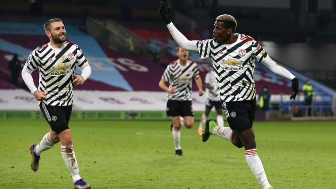 Selebrasi Paul Pogba di laga Manchester United melawan Burnley