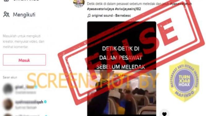 Hoax detik-detik pesawat Sriwijaya Air sebelum meledak dan jatuh