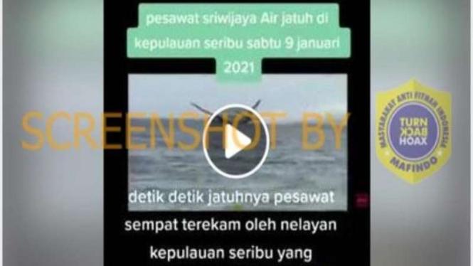 Hoax video detik-detik pesawat Sriwijaya Air jatuh