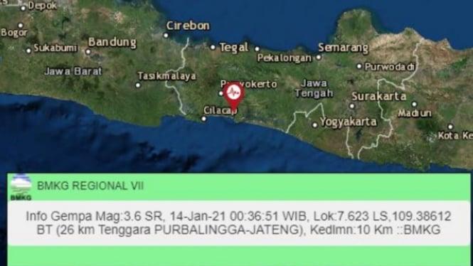 Gempa Magnitudo 3,6 Guncang Purbalingga, Jawa Tengah
