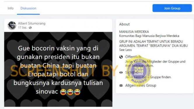 Hoax vaksin yang digunakan Jokowi bukan vaksin China, tapi buatan Eropa.