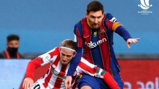 Striker Barcelona, Lionel Messi saat melawan Athletic Bilbao.