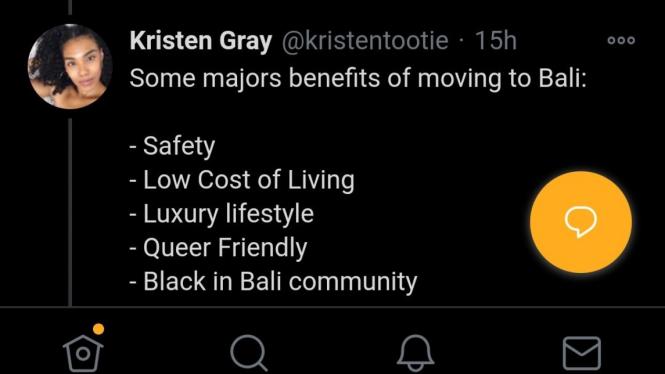 Tweet Kristen Gray soal hidup mewahnya di Bali