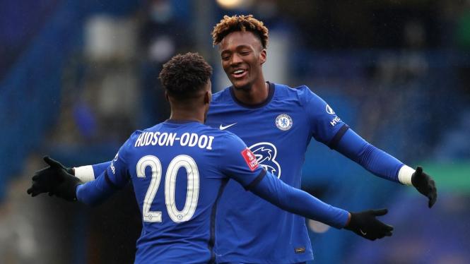 Bomber Chelsea, Tammy Abraham merayakan gol