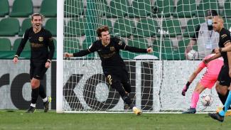Ekspresi Riqui Puig usai bikin gol untuk Barcelona ke gawang Elche