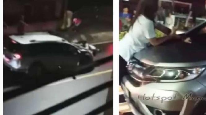 Wanita gelantungan di mobil saar pergoki suami selingkuh