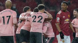 Selebrasi pemain Sheffield usai hancurkan Manchester United