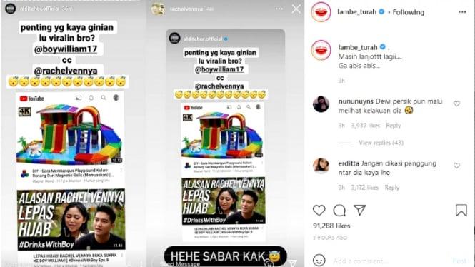 Postingan Insta stories Aldi Taher sindir konten YouTube Boy William