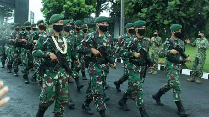 VIVA Militer: 30 Prajurit Yonkav 1 Kostrad tiba di Mayonkav Cijantung