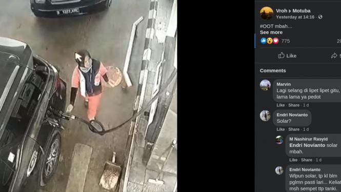 Pegawai SPBU yang dipuji warganet saat selang BBM bocor