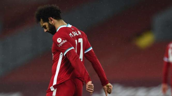 Ekspresi kekecewaan Mohamed Salah usai Liverpool dikalahkan Brighton