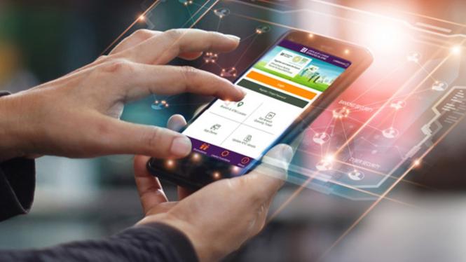 Ilustrasi konsumen properti mencari informasi lewat aplikasi.