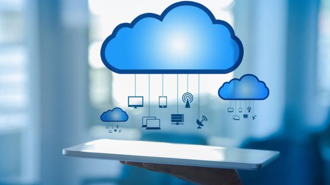 Ilustrasi solusi berbasis komputasi awan atau cloud computing.