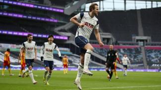 Harry Kane merayakan gol saat Tottenham Hotspur melawan West Bromwich Albion