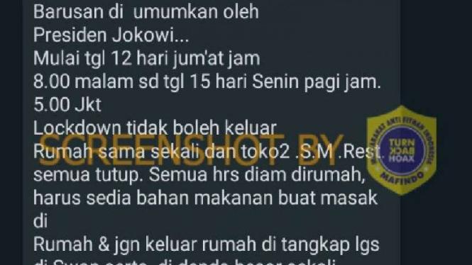 Hoax soal lockdown Jakarta