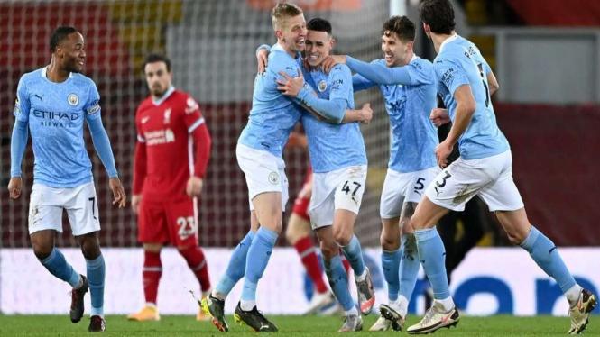 Pemain Manchester City merayakan gol ke gawang Liverpool