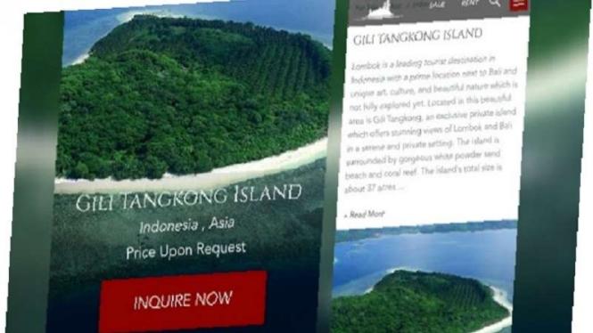 Iklan Gili Tongkong dijual di sebuah situs online