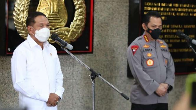 Menpora Zainudin Amali (kiri) dan Kapolri Jenderal Listyo Sigit Prabowo