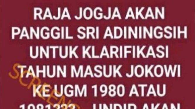 Postingan soal ijazah palsu Jokowi