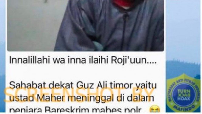 Pesan berantai hoax soal penyebab meninggalnya ustaz Maaher