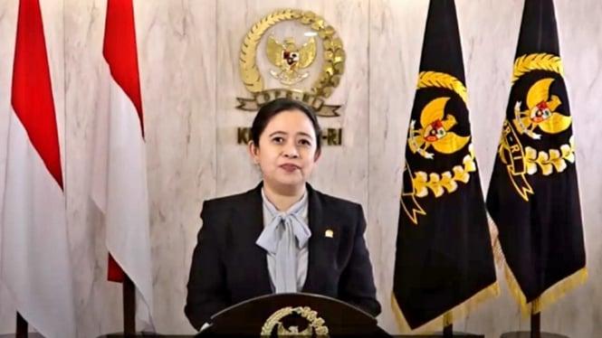 Ketua DPR Puan Maharani saat acara Imlekan Bareng Banteng secara virtual