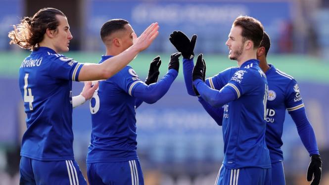 Pemain Leicester City merayakan gol