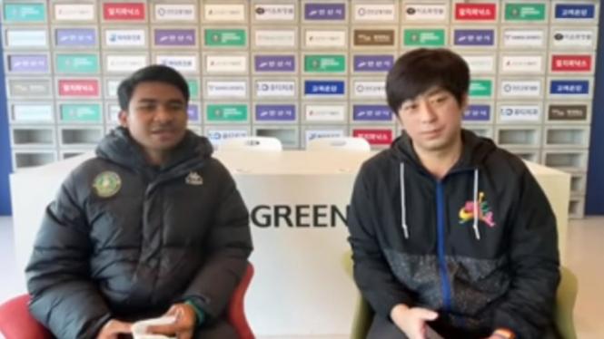 Pemain Timnas Indonesia dan Ansan Greeners, Asnawi Mangkualam Bahar.