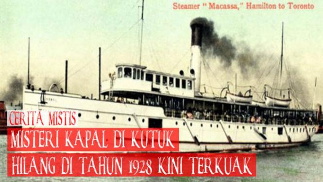 Kapal Inggris yang dikenal sebagai The Manasoo hilang pada 1928