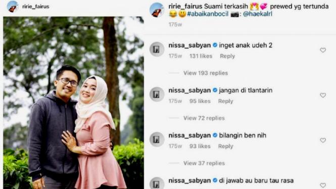 Komentar Nissa Sabyan di postingan istri Ayus, Ririe Fairus
