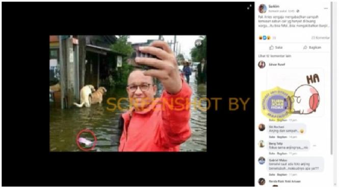 Foto hoax Anies selfie di tengah banjir