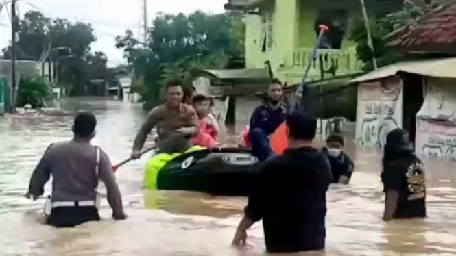 Kondisi banjir di Desa Simpangan Cikarang Utara