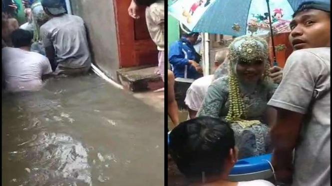Pengantin kebanjiran dievakuasi pakai bak mandi bayi