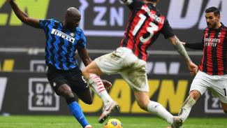Romelu Lukaku di laga AC Milan vs Inter Milan